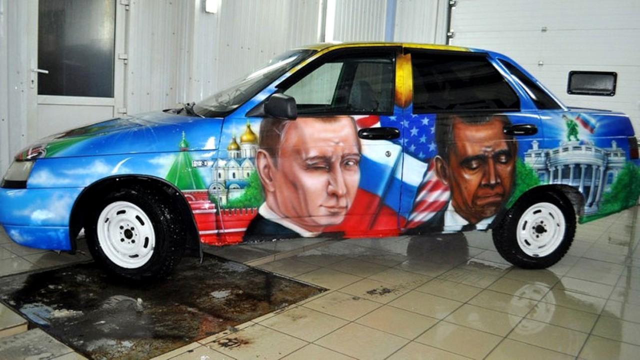Барак Обама. Рисунок на автомобиле