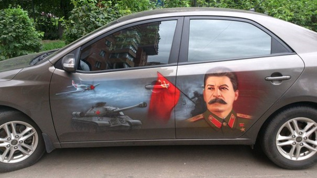 Иосиф Сталин. Рисунок на автомобиле