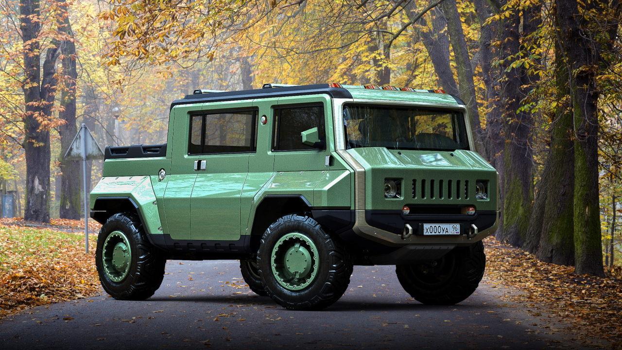 Российский дизайнер скрестил УАЗ-452 с Hummer