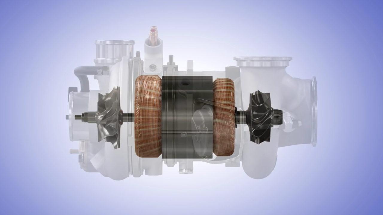 Электронный турбокомпрессор eTurbo в разрезе