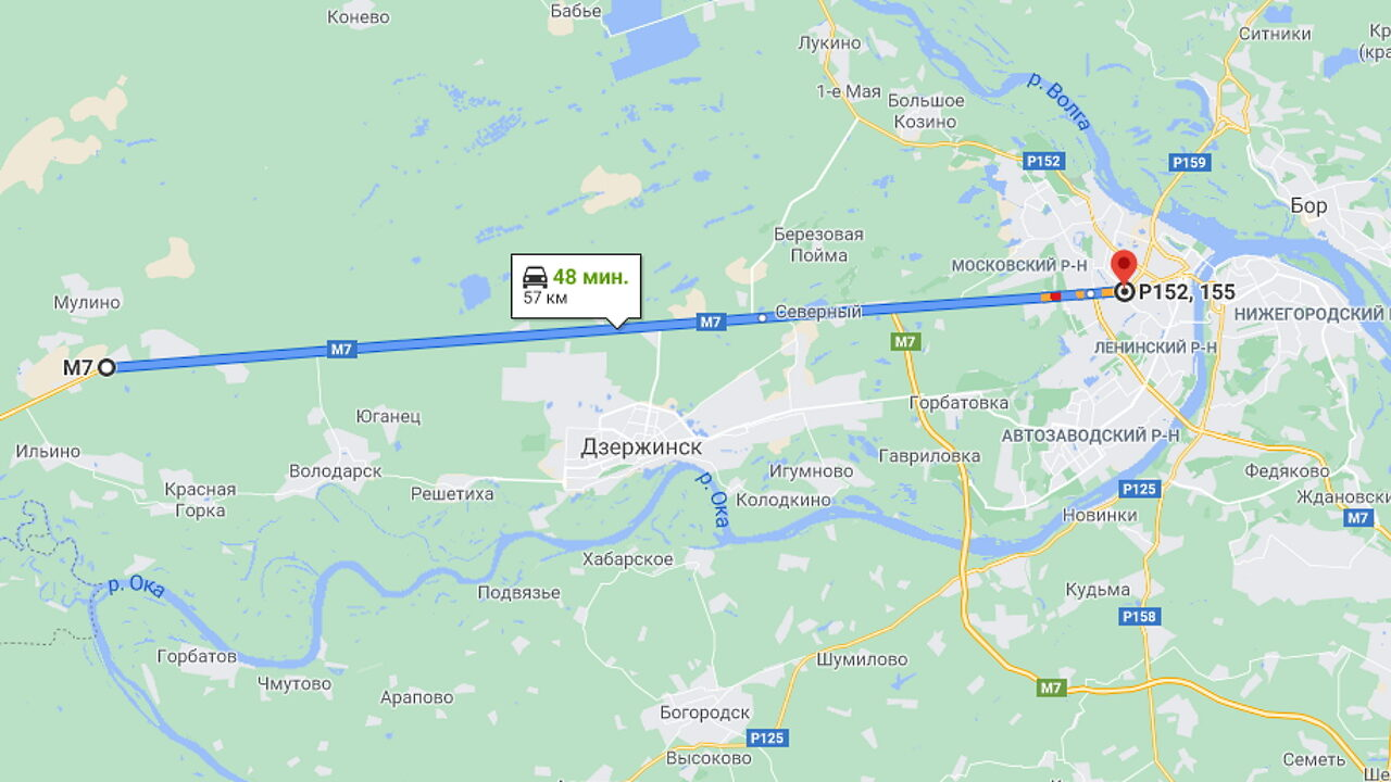 Прямой участок трассы М-7 (Е22) Москва - Нижний Новгород