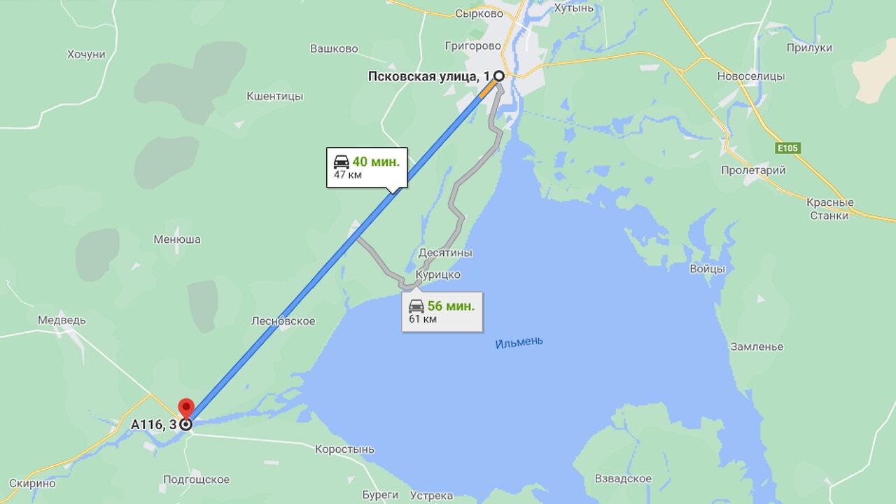 Прямой участок трассы Р-56 Великий Новгород - Псков