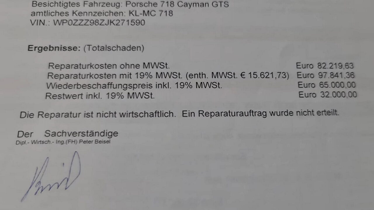 Ремонт разбитого Porsche Cayman обошёлся дороже нового автомобиля