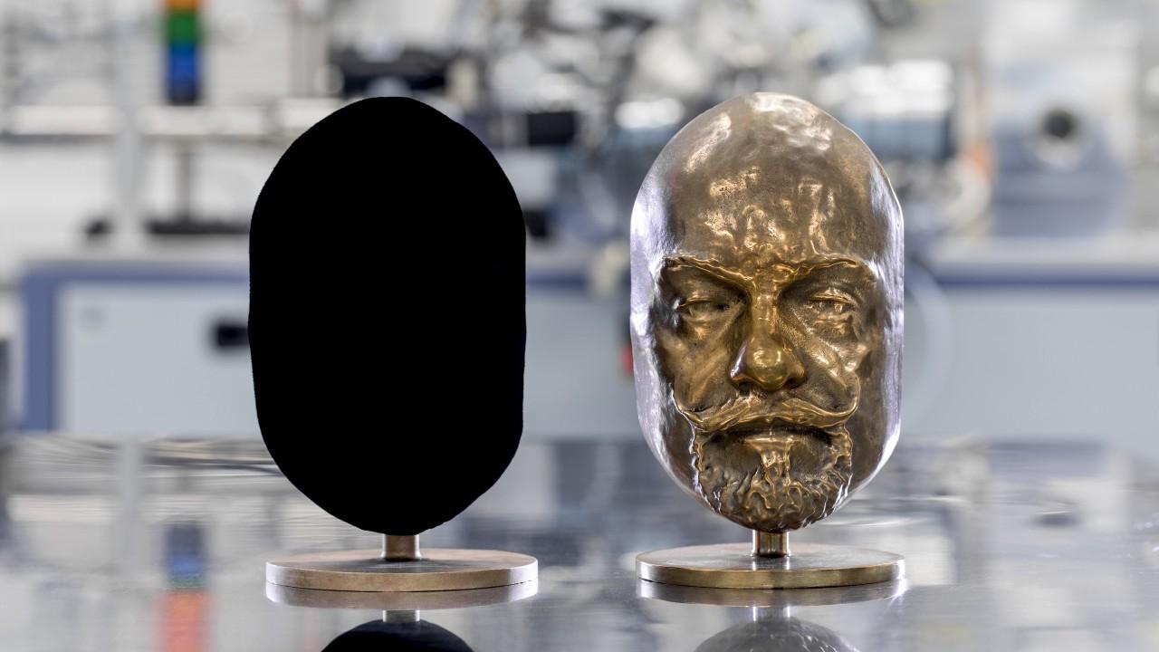 Две одинаковых скульптуры она из которых покрыта веществом Vantablack